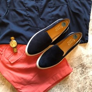 NWOT Franco Sarto Blue Suede slip-on shoes